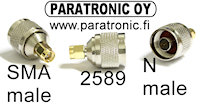 2589 N uros / SMA uros adapteri, N male to SMA male adapter